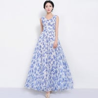 SALE Bohemian Blue Floral Print Wedding Bridesmaid A-line Dress Thick Chiffon Full Pleated Skirt Beach Boho Chic Prom Holiday Party Evening