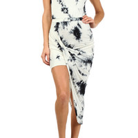 Indie Eden Tie Dye Asymmetrical Dress - White | Daily Chic