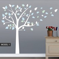 Tree Owl and Bird Decal - Moon Wall Stickers
