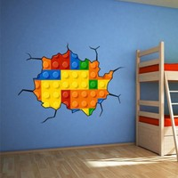 Lego Effect Style Brick Wall Stickers - Moon Wall Stickers