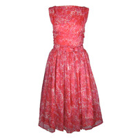 VINTAGE 1950'S LINED SHEER PINK FLORAL SPRING SUMMER DRESS