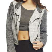 Reversed Fleece Moto Jacket | Wet Seal