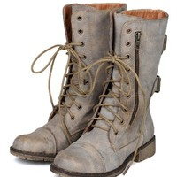 Nature Breeze AC08 Women Distress Zipper Lace Up Military Mid Calf Boot - Tan PU