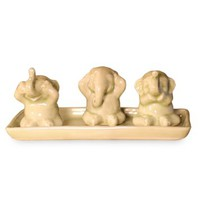 Celadon ceramic figurines, 'Elephant Life Lessons' (set of 3)