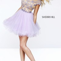Beaded Cap Sleeved Dress by Sherri Hill