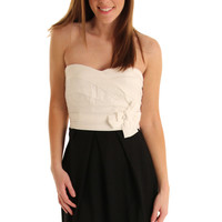 White Black Two Tone Empire Strapless Party Dress