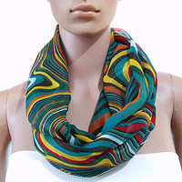 Green Infinity Scarf Colorful Infinity Scarf - Psychedelic Circle Loop Scarf - Long Shawl Scarf Tube Scarf Soft Cozy Fashion Scarf - Gift