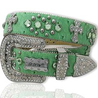 Rhinestone Cross Green Ostrich Bling Western Belt SPurchase