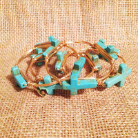 Bourbon & Boweties: Medium Turquoise Cross Bangle - elle & k boutique
