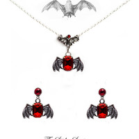 Gothic bat winged earrings + necklace + ring 'Ruby red Bats' halloween goth vampire horror victorian