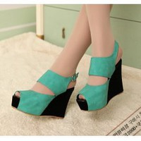 Wholesale  Explosion of super show thin spell color wedges mouth with fish high lady sandals CZ-0432 light green - Lovely Fashion