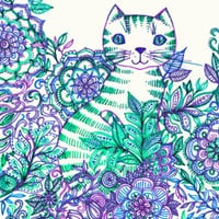 Garden Cat doodle in purple, blue & green Art Print by micklyn | Society6