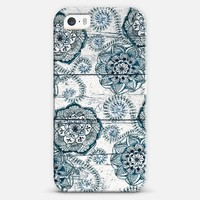 Navy & Teal Floral Doodles on Wood iPhone 5s case by Micklyn Le Feuvre | Casetagram