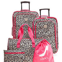 New Directions® 5-Piece Luggage Set - Pink Leopard - Belk.co