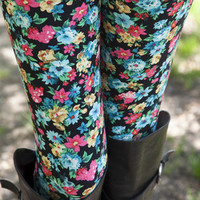 Aqua/Red Floral Leggings