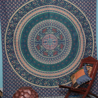 Indian Mandala Tapestry, Indian Tapestry Throw Bedspread Etchnic Decor, Hippy Hipie Wall Hanging,Bohemian Tapestry, Round Mandala Tapestry,