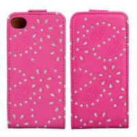 Pink Magnet Flip Leather Diamond Flower Case Cover for iPhone 4 4S free shipping