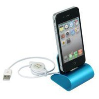 Blue USB Aluminum Charger Desktop Cradle Dock Station Stand for iPhone 4 4s free shipping