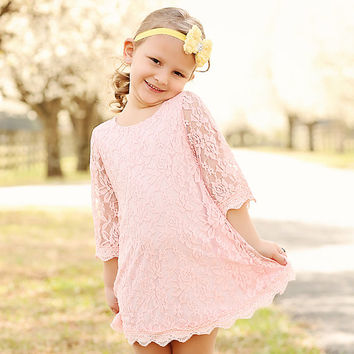 Peach Girls Vintage Lace Dress Girls From