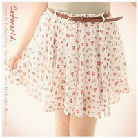New Arrive Elegant Shivering Chiffon Short Skirt With Belt Apricot-Wholesale Women Fashion From Icanfashion.com