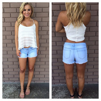 Light Wash Denim Cut Off Shorts