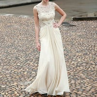 Ecru Embroidered A Line Wedding Dress