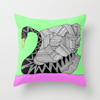 Ugly Swan Throw Pillow - Double Sided Throw Pillow - Faux Down Insert - Illustrated Pillow Cover