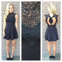 Black Crochet Lace Skater Dress