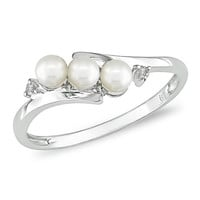 3.0-3.5mm Cultured Freshwater Pearl Three Stone Slant Ring in 10K White Gold with Diamond Accents - View All Rings - Zales