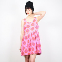Vintage 90s Dress Hot Pink Dress Floral Print Babydoll Dress Grunge Dress Skater Dress Neon Pink Orange Sundress T Shirt L XL Extra Large
