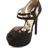 PEEP TOE CUT-OUT ANKLE STRAP PLATFORM HEELS
