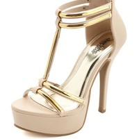 METALLIC PLATED DOUBLE T-STRAP HEELS
