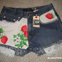 High Waisted Denim Jean strawberry Shorts