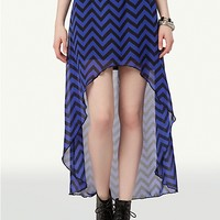 Chevron Belted High Low Skirt