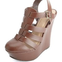 Closed Toe Strappy Platform Wedge Sandals by Charlotte Russe - Brown