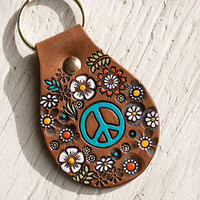 Peace Sign Floral Leather key ring - hand painted and hand stamped - Your Choice of Peace Symbol Color