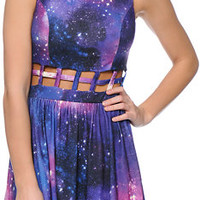 Love, Fire Purple Galaxy Print Cage Waist Skater Dress