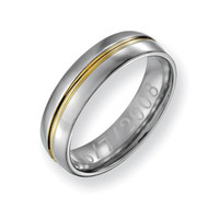 Men's 6.0mm Engraved Titanium with 14K Gold Inlay Wedding Band (27 Characters) - Personalized Rings - Shared - Zales