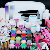 9W UV white dryer lamp 24 color Acrylic Powder Nail Art Kit gel tools Set 303