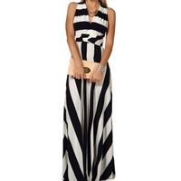 NavyWhite Striped Convertible Maxi Dress