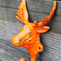 Orange &quot;MOOSE&quot; cast iron Wall Hook by AquaXpressions