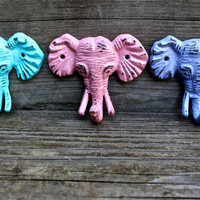 Colorful &quot;Elephant&quot; cast iron Wall Hook Set: You Pick the Colors by AquaXpressions
