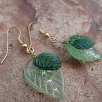 Green Leaf Glass Earrings, For Her, Dangle Earrings