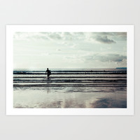 Saunton Surfer Art Print by  Alexia Miles photography