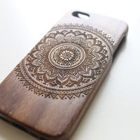 Walnut Wood iPhone 5c Case, Wooden iPhone 5c Case, Bamboo Engraved iPhone 5c Case, Mandala iPhone 5c Case