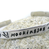 Mockingjay Bracelet - Hand Stamped Hunger Games Jewelry