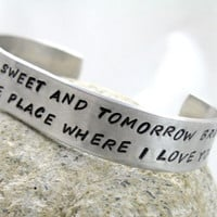 "Rue's Lullaby - Hand Stamped 1/2"" Aluminum Cuff, The Hunger Games"