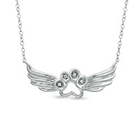 ASPCA® Tender Voices™ Diamond Accent Paw with Wings Necklace in Sterling Silver - View All Necklaces - Zales