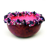 Gourd Beaded Bowl Purple & Pink w/ Amethyst and Glass Beads Home Decor