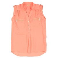Takara Sleeveless Zip-Pocket Woven Top | Dillard's Mobile
